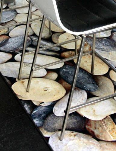 Geprinte vloerkleden stenen