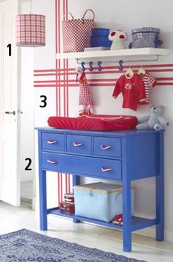 Babykamer inspiratie rood met blauw