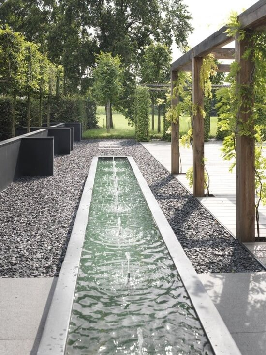 Strakke tuin - Water features for small spaces plan ...