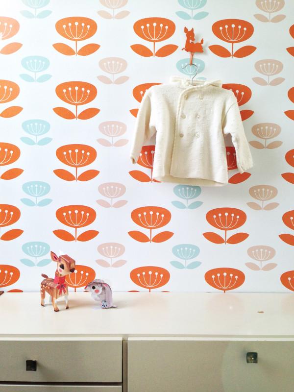 Oranje behang kinderkamer : Ik woon fijn