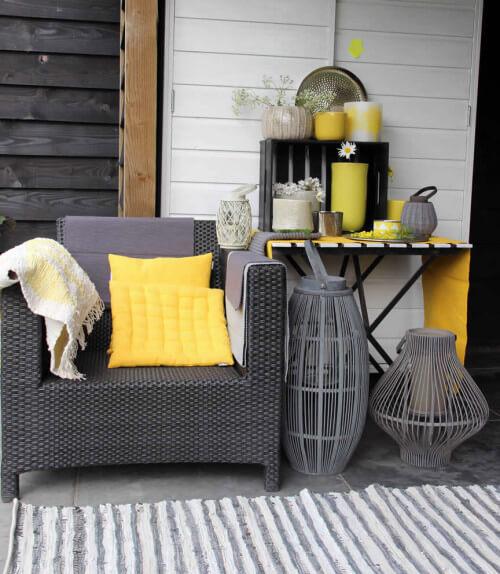 Geel zwart tuinmeubelen