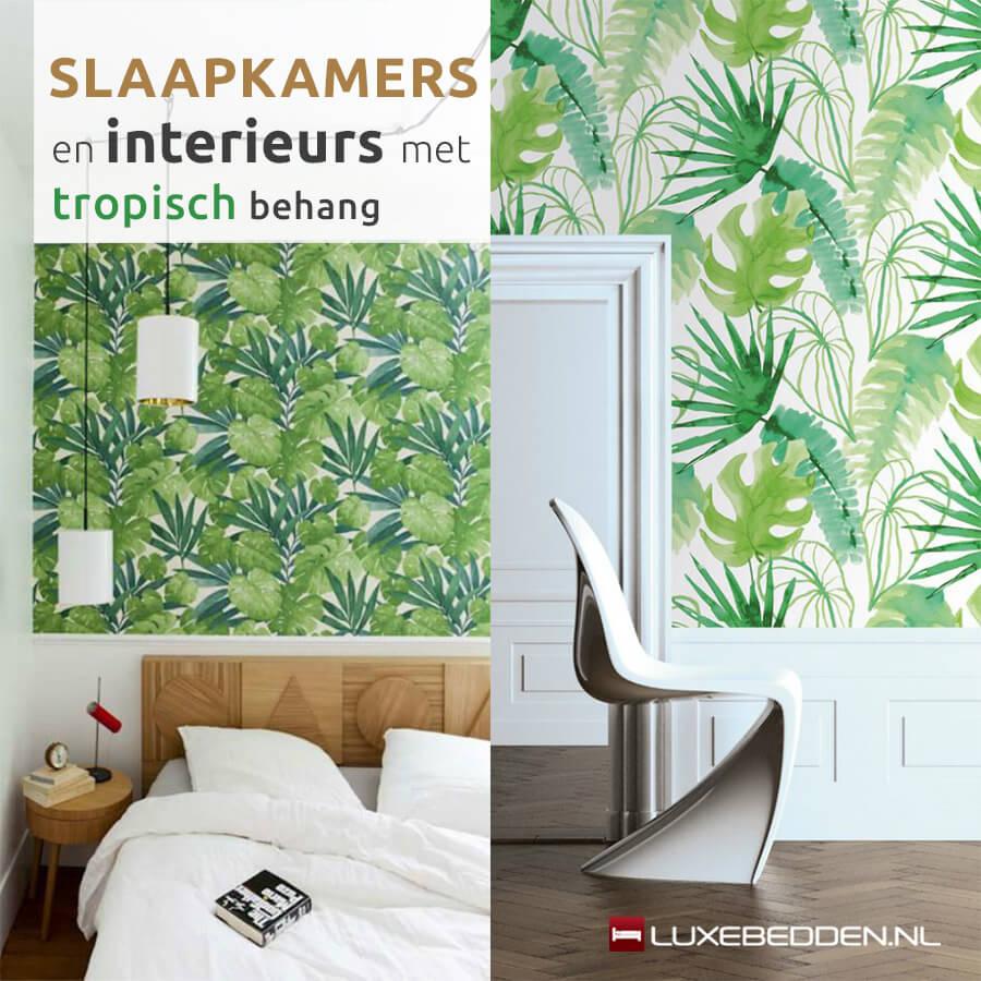 Slaapkamers en interieurs met tropisch behang ik woon fijn - Slaapkamer met behang ...
