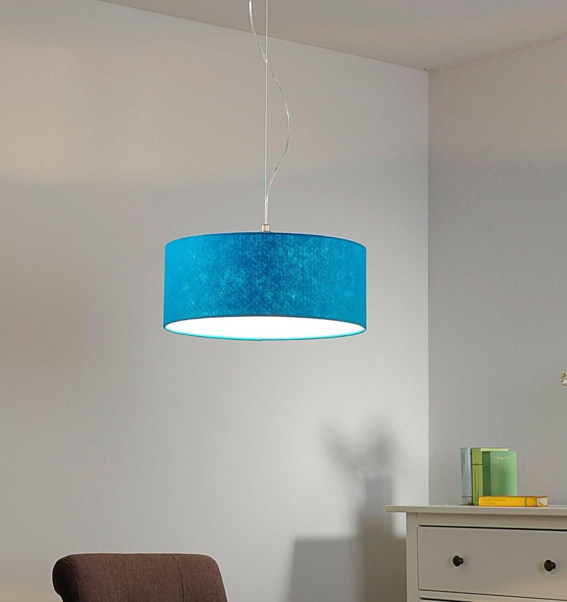 Blauwe vilten hanglamp