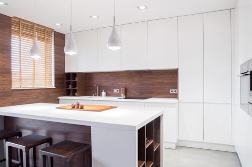 Keuken achterwand van hout