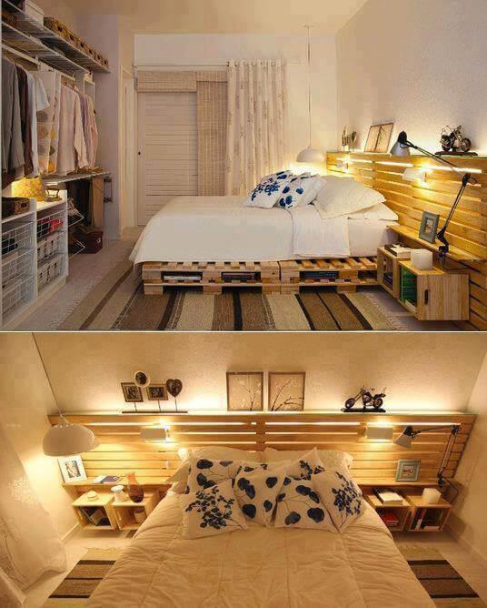 Zelfgebouwd bed van pallets, inclusief achterwand en nachtkastjes