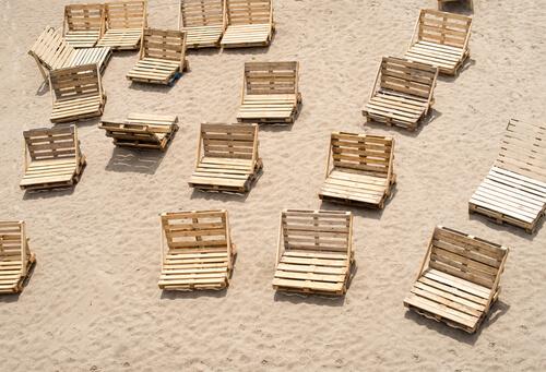 Strandstoelen van pallethout