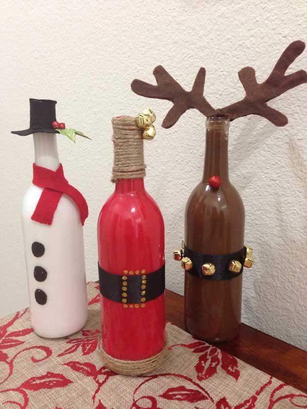 Glazen flessen kerstdecoratie