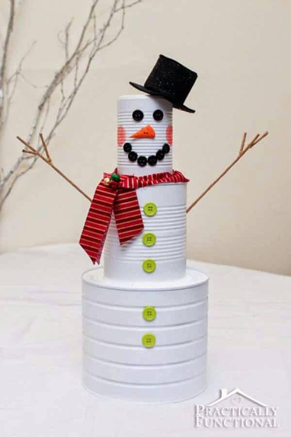 Kerstdecoratie blikken sneeuwman