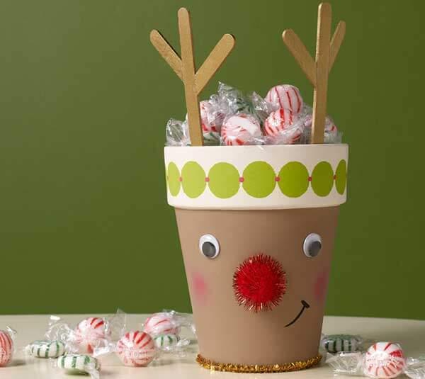 Bloempotjes kerstdecoratie