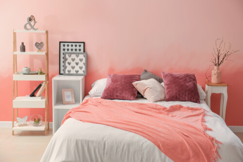 Roze kleine slaapkamer inrichting