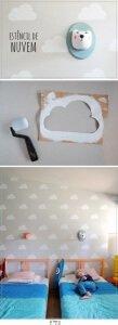 wolken muur babykamer