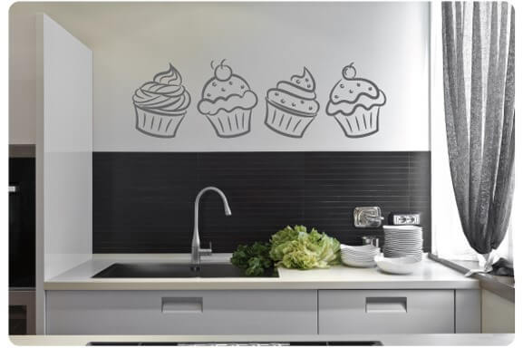Muursticker cupcakes keuken