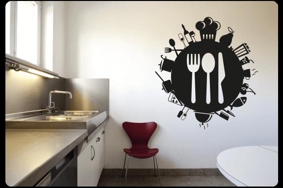 Muursticker keuken bestek