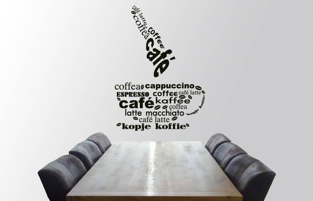 Muursticker kopje koffie keuken