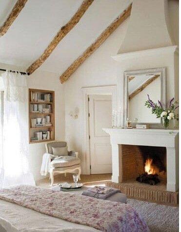 landelijke slaapkamer houten balken