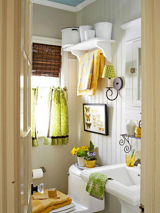 Veel kleine details vintage badkamer