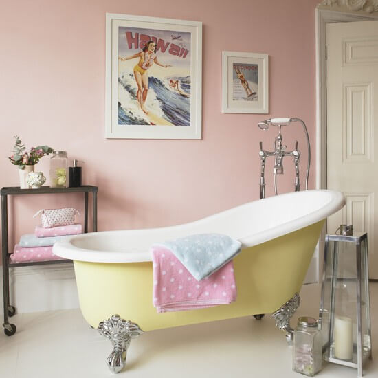 Vrijstaand bad bintage badkamer