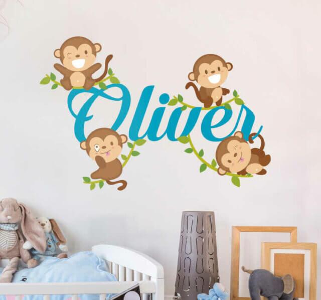 Naamsticker met aapjes