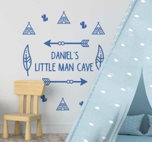 Little man cave muurtekst babykamer