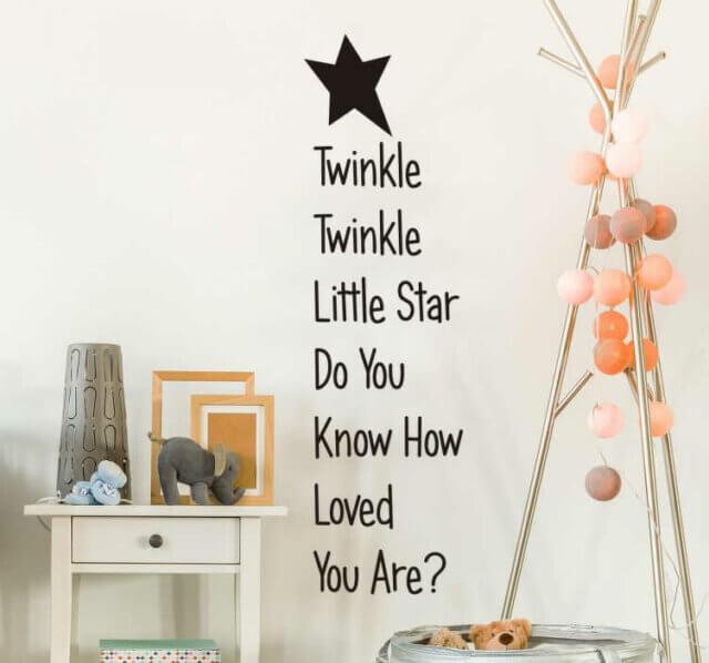 Twinkle Twinkle little star muursticker voor babykamer