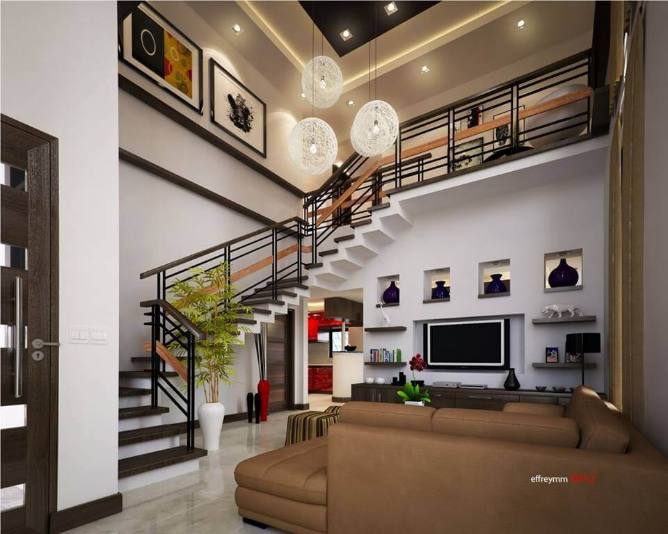 Hoge bruine woonkamer