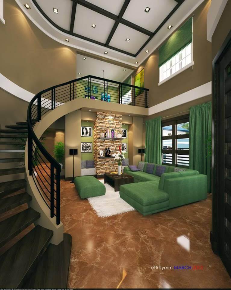 luxe groene woonkamer