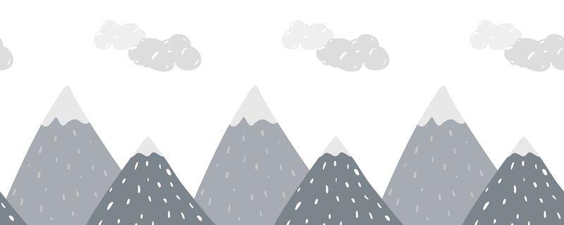 Scandinavische grijze bergen op behang