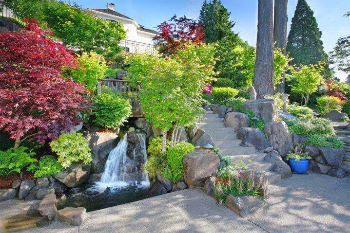 Waterval In Tuin : Waterval in tuin tuin van tulpen en waterval stock foto