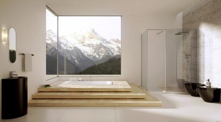 Groot raam in de badkamer
