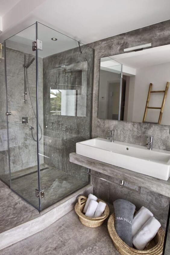 Industriele badkamer met beton
