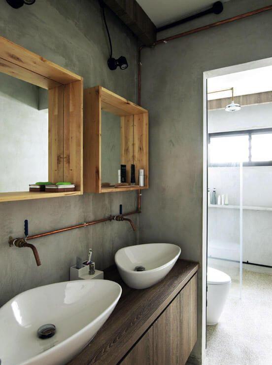 Open pijpen in de badkamer