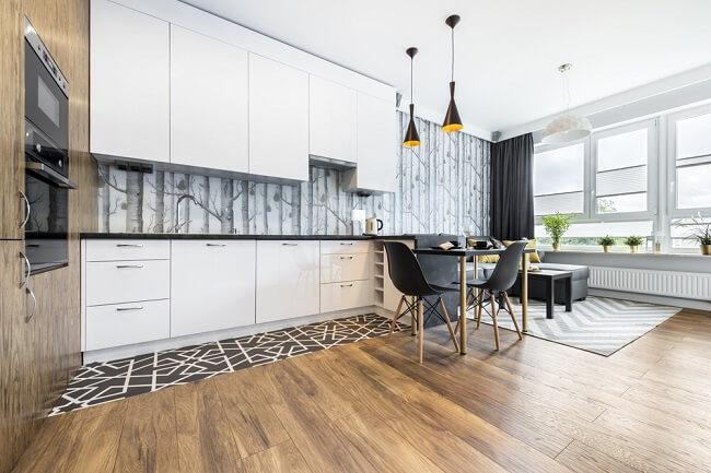 Vloer en keuken hout