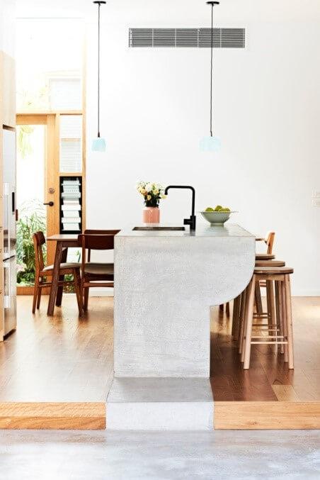 beton in combinatie met hout