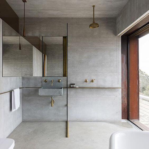 minimalistische industriele badkamer