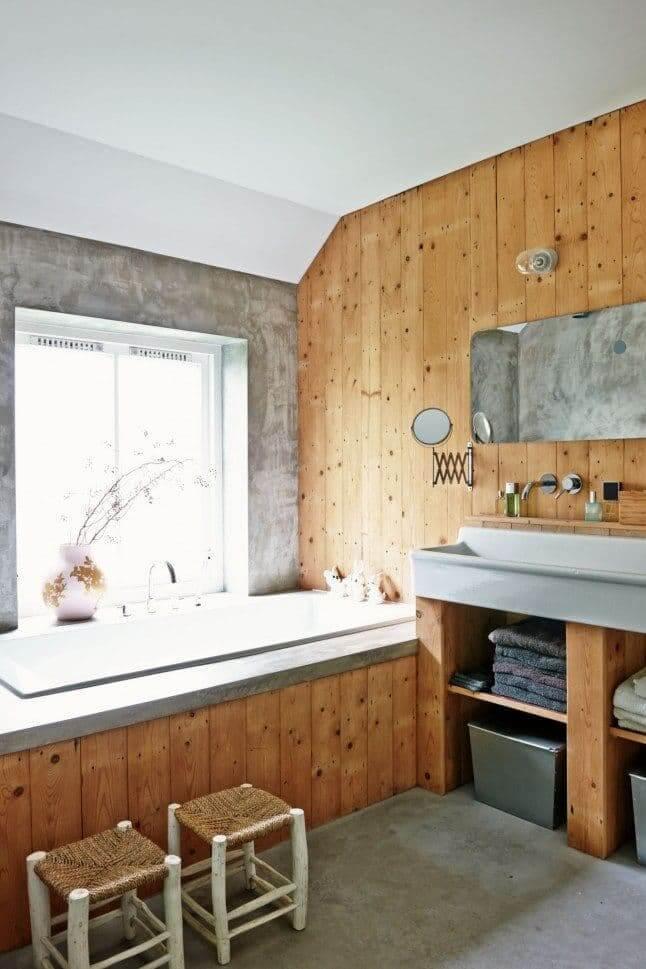 prachtige badkamer met hout
