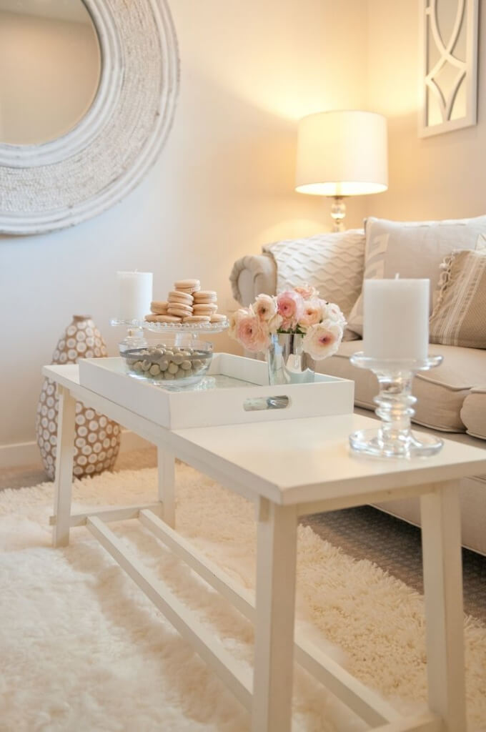 romantische woonkamer, decoraties