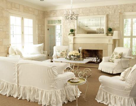 romantische woonkamer, meubels romantiseren