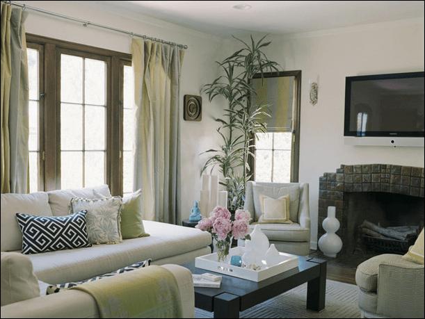 romantische woonkamer, muren en vloer