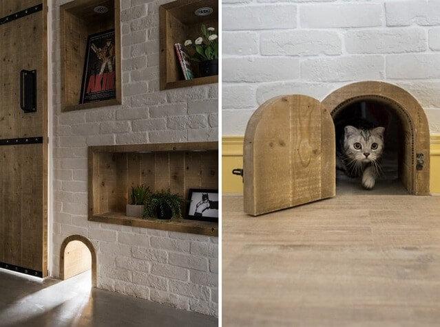 woonkamer inrichten met katten