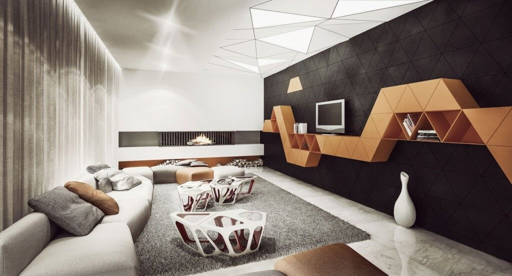 design opbergruimte muur woonkamer