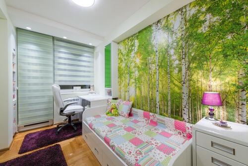 Fotobehang van kleine slaapkamer