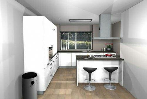 Kleine keuken met kookeiland in zwart-wit