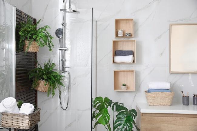Kleine oosterse badkamers om tot rust te komen