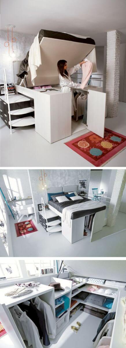 Kleine slaapkamer inrichten 15 handige tips ik woon fijn - Opklapbaar bedplafond ...