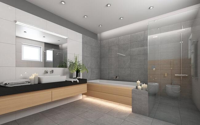 Voorbeelden van grote moderne badkamers