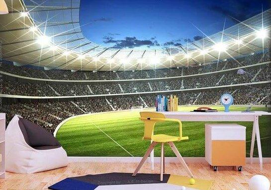 Behang van voetbalstadion voor kinderkamer