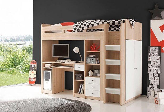 Hoogslaper met bureau 10 leuke voorbeelden ik woon fijn - Hoogslaper met geintegreerde garderobe ...