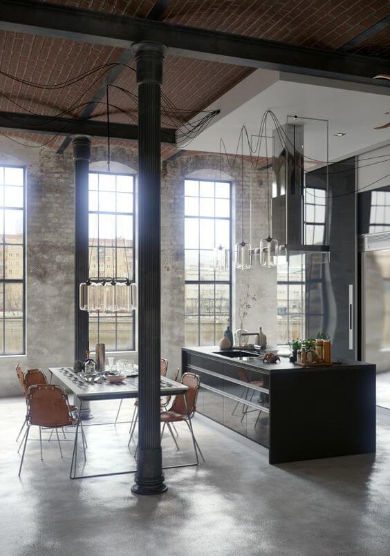 Industriële woonkeuken met gladde vloer