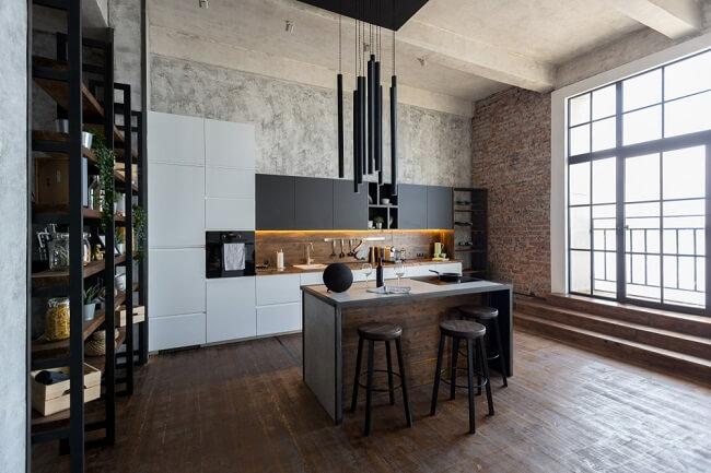 Keuken in industriële omgeving