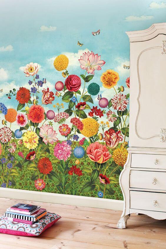 Landschap met bloemen op de muur